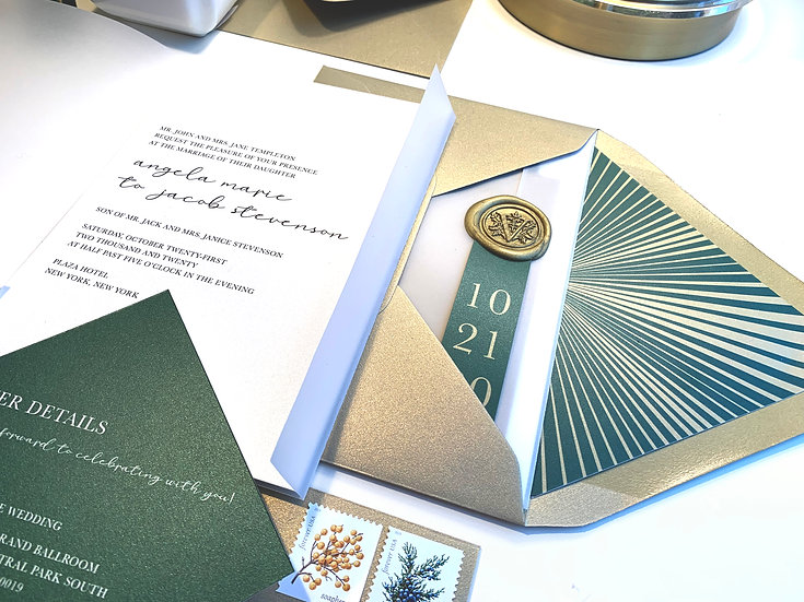 Green and Gold Wedding Invitation with Custom Gold Wax Seal and Vellum Wrap