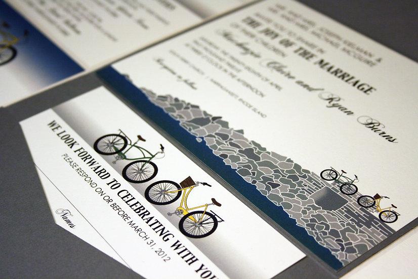 Two Bikes Pocketfold Wedding Invitation