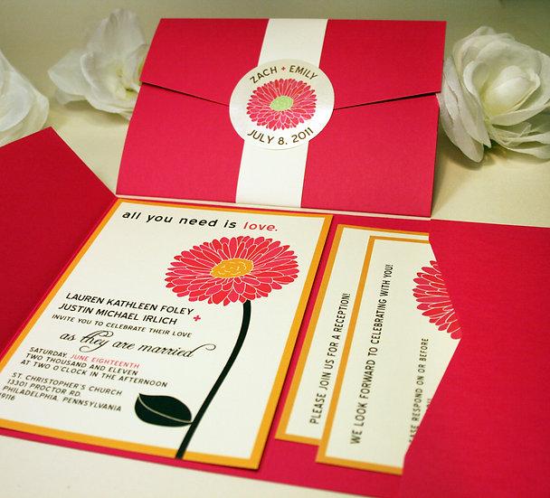 Gerbera Daisy Pocketfold Wedding Invitations