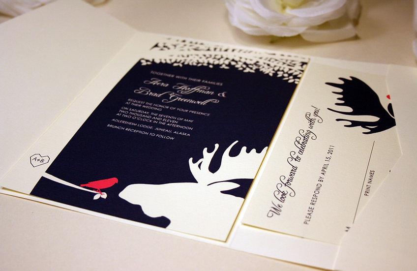 Moose and Bird Pocketfold Wedding Invitations