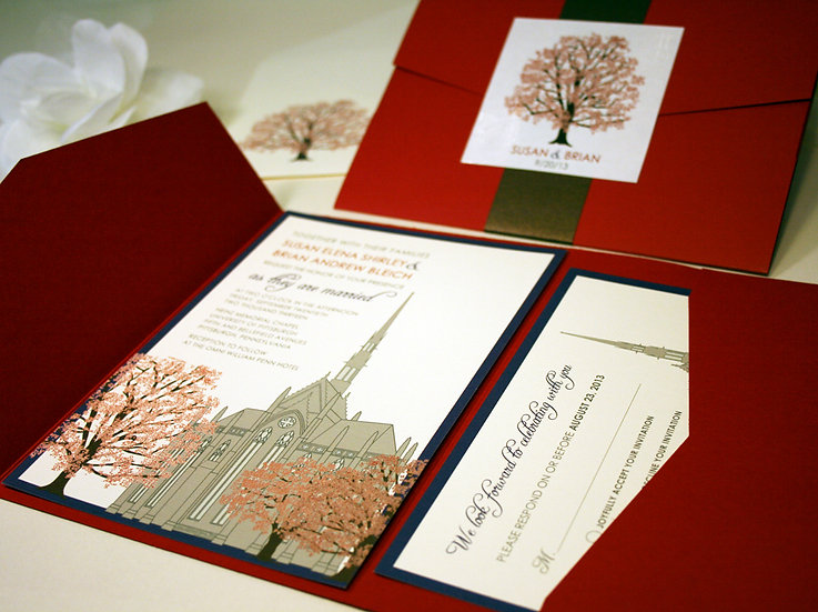 Chapel Wedding Invitation with Oak Trees