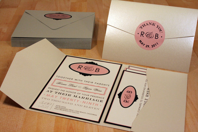 Pocketfold Vintage Playbill Wedding Invitation