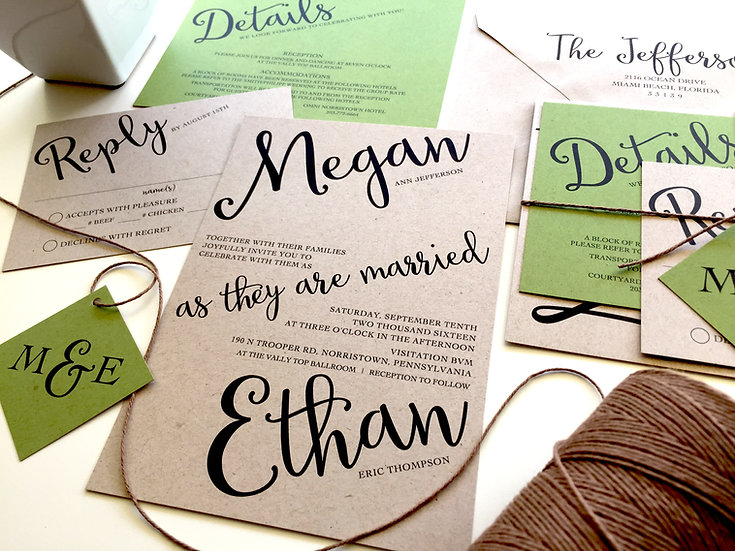 Angled Script Rustic Wedding Invitation, Green