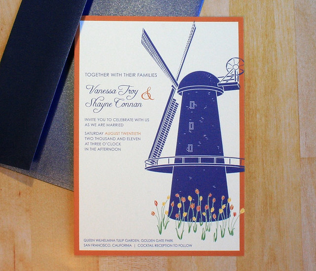 Windmill in the Tulips Wedding Invitation