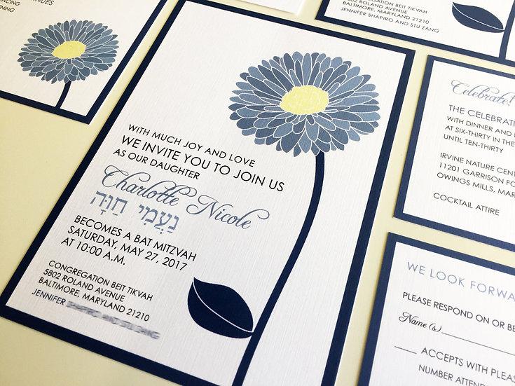 Gerbera Daisy Bat Mitzvah Invitations, Blue Flower Invitation, Custom Design
