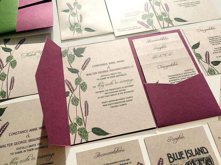 Hops and Barley Wedding Invitation, Wine Red Pocketfold and Green on Kraft Paper