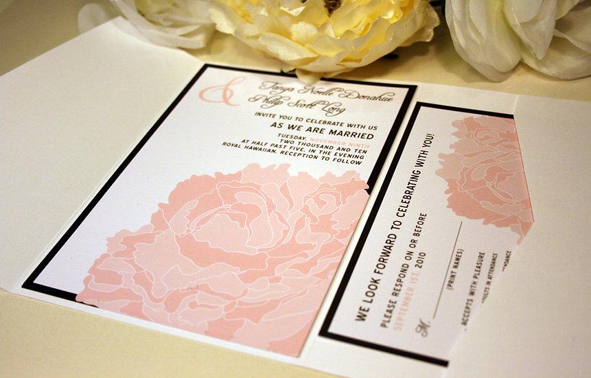 Lacy Peony Blossom Pocketfold Wedding Invitation