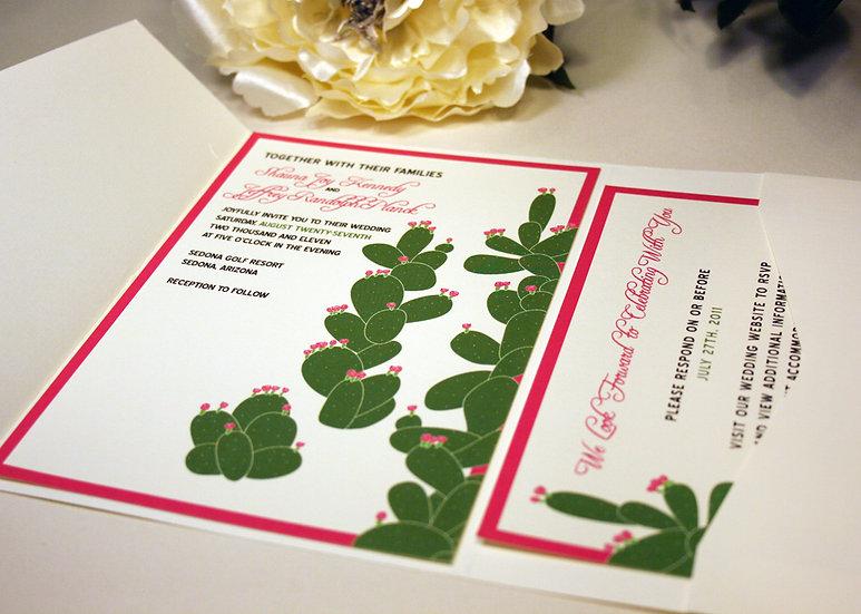 Flowering Cactus Pocketfold Wedding Invitation