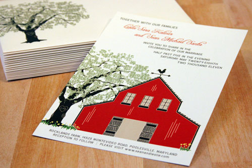 Red Barn with Oak Tree Invitation