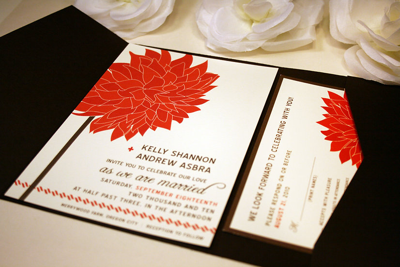 Dahlia in the Wind Pocketfold Wedding Invitation