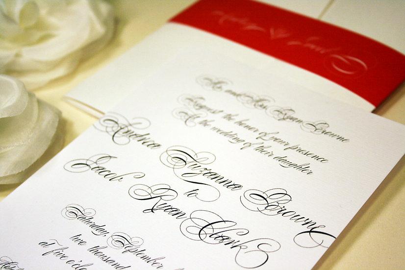 Chic Script Pocketfold Wedding Invitation
