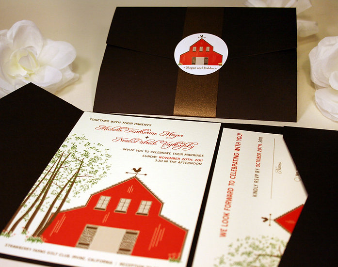 Red Barn in the Forest Invitation