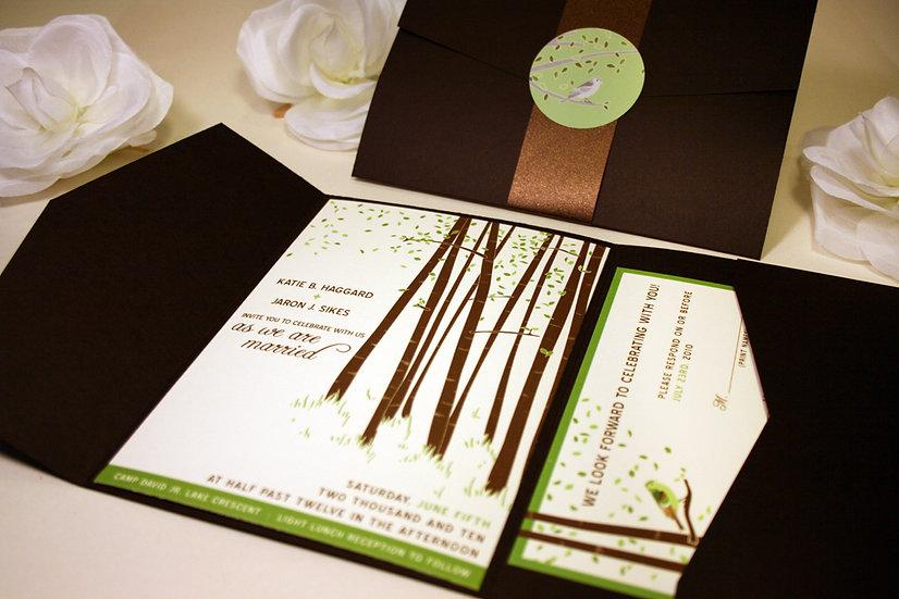 Forest Pocketfold Wedding Invitation Spring Summer