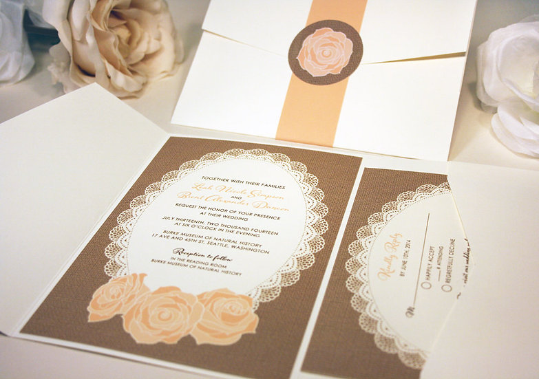 Lace and Burlap Rose Pocketfold Invitation