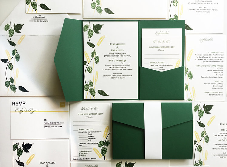 Brewery Wedding Invitation, Beer Wedding Invite, Green Pocketfold Hops Barley
