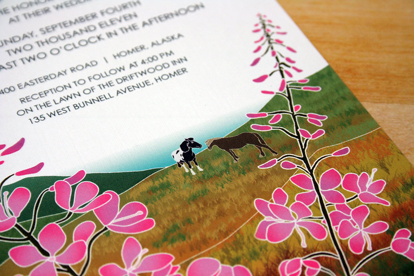 Horses in the Hills Pocketfold Wedding Invitation