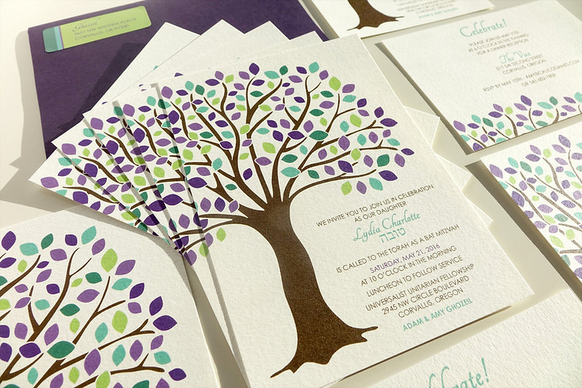 Tree of Life Bat Mitzvah Invitation, Purple & Blue