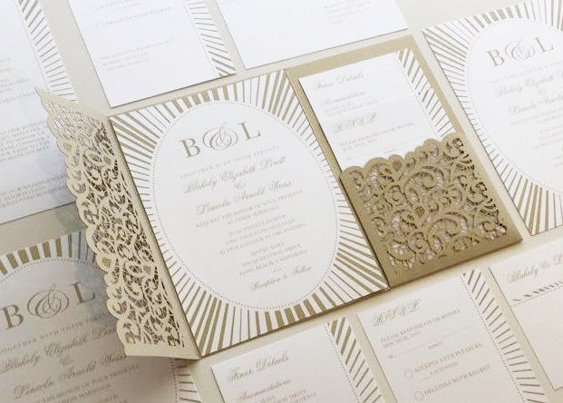 Gold Wedding Invitation Set, Oval Invitations, Lace Cutout Pocketfold, Script