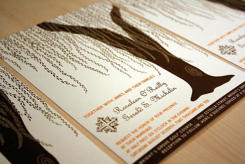 Cascading Willow Pocketfold Wedding Invitation