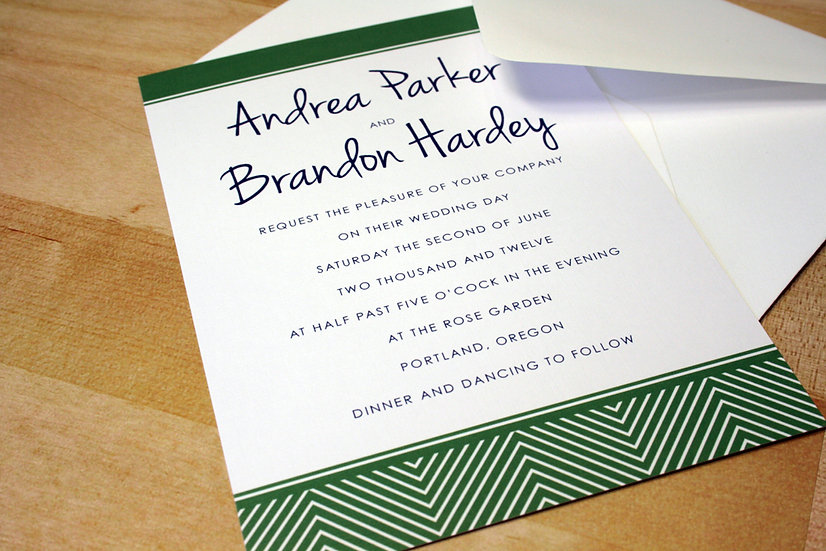 Herringbone Wedding Invitation