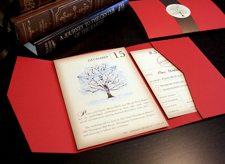 Winter Vintage Book Page Invitation