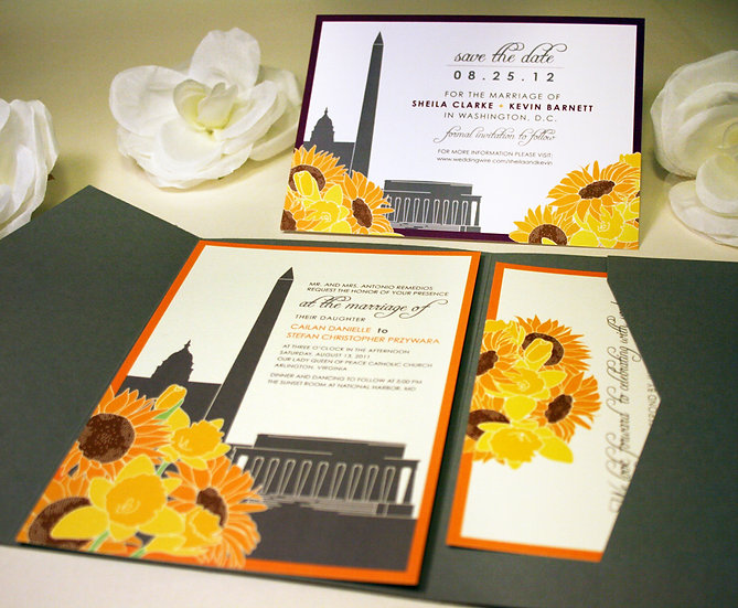 Washington DC Sunflower & Daffodils Invitations