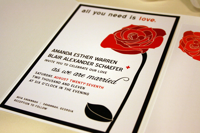 All You Need is Love Rose Wedding Invitations