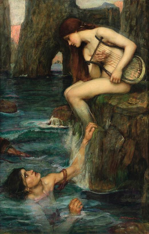 John William Waterhouse – Sirene und Fischer Öl auf Leinwand, 1891, Privatsammlung