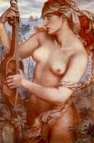 Dante Gabriel Rossetti – Die Sirene Ligeia Kolorierte Kreide auf Leinwand, 1873, Privatsammlung
