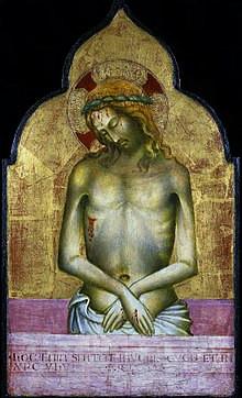 Meister der Madonna Straus - Schmerzensmann Tempera auf Leinand, 1405, 37 x 21,8 cm, Nationalmuseum, Warschau