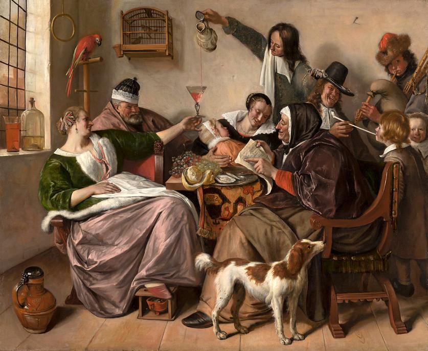 Jan Steen - Wie die Alten sungen, so zwitschern die Jungen  Öl auf Leinwand, 1665, 134 x 163 cm, Mauritshuis in Den Haag