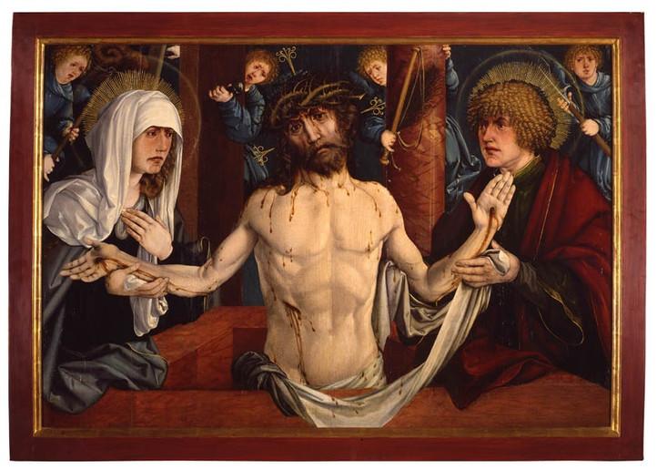 Martin Schaffner - Christus als Schmerzensmann zwischen Maria und Johannes Öl auf Holz, 1519,  85 x126 cm, Museum Ulm, Ulm gezeigt unter den Bedingungen der (CC BY-SA 4.0) https://creativecommons.org/licenses/by-sa/4.0/