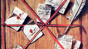 Wallerant Vaillant - A board with letters, penknife and quill behind red ribbons