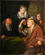 Godfried Schalcken - Die ärztliche Untersuchung Öl auf Leinwand, 1680, 35 x 28,5 cm, Mauritshuis in Den Haag