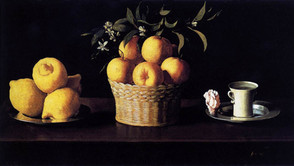 Francisco de Zurbaran - Lemons, oranges and a chalice with rose petals
