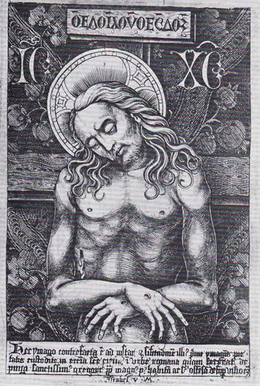Israhel van Meckenem - Schmerzensmann Kupferstich, 1495. Nachbildung der Mosaikikone imago pietatis in Santa Croce in Gerusalemme, Rom