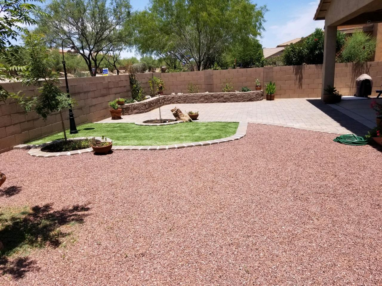 Gravel, Turf, Paver Patio and Planter