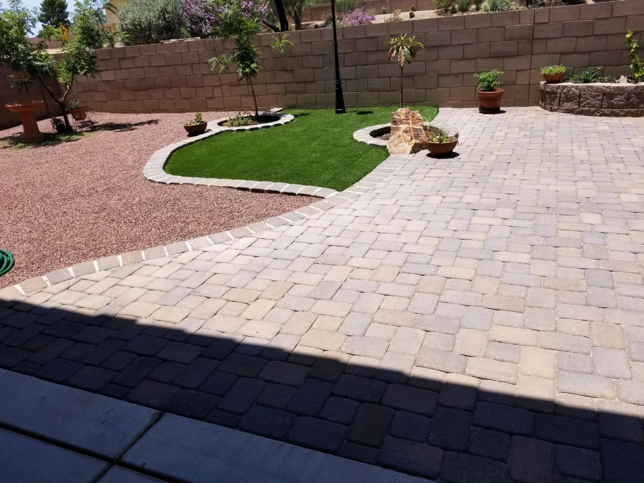 Paver Patio, Gravel, Turf and Planter