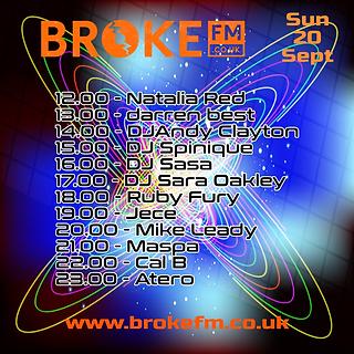 Broke FM DJ list flyer Sunday 20092020 (