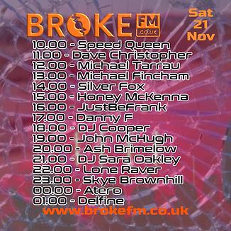 Broke FM DJ list flyer Saturday 21112020