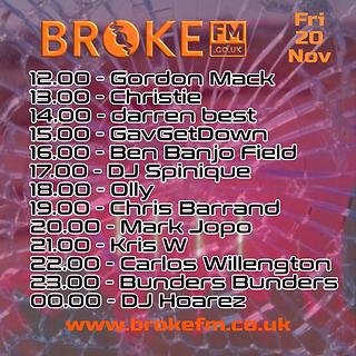 Broke FM DJ list flyer Friday 20112020.p