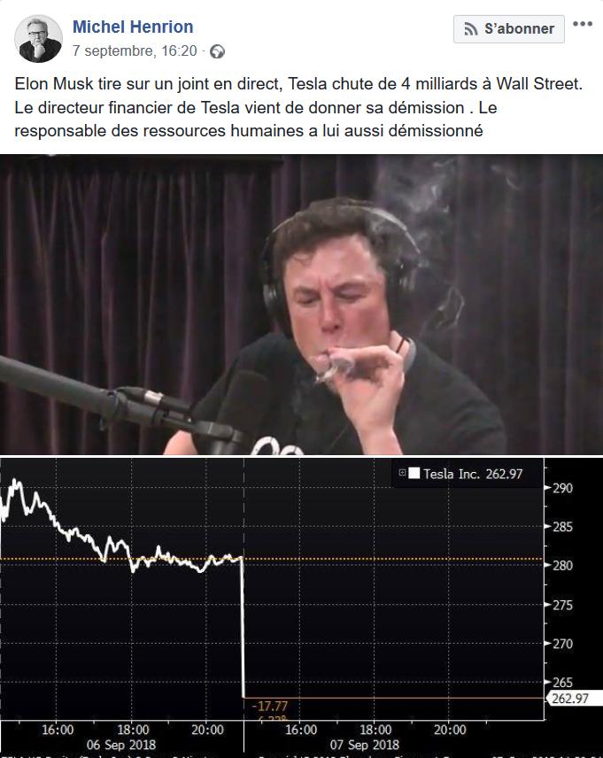 Elon Musk - joint - chute de cours Tesla