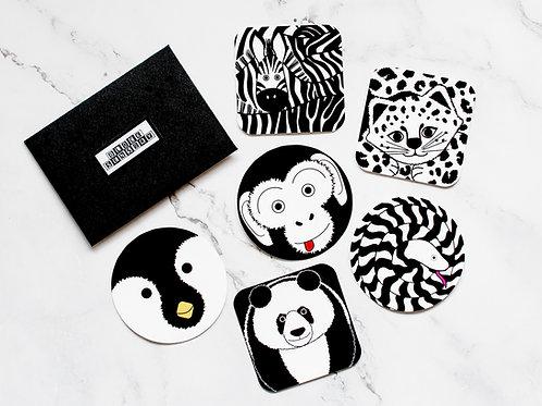 6 Monochrome Animal Sensory Decal Stickers
