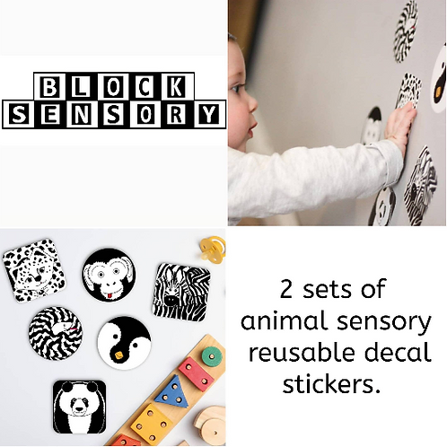 2 Sets of monochrome animal decals