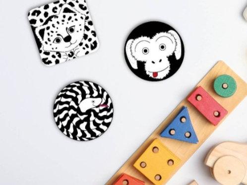 3 Monochrome Animal Sensory Decals Monkey Set