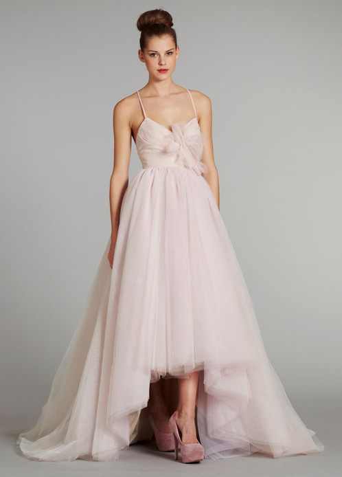 hayley paige pink high low tulle wedding gown 1258