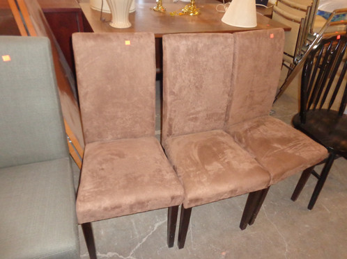 3 Brown Suede Chairs, Sold Individually Or Together. Price Is Per Chair.