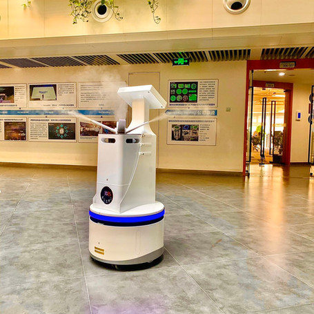Our disinfection robot working in a building of Shanghai