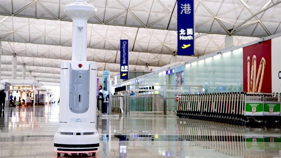 Our disinfection robot working in the Hongkong Airport