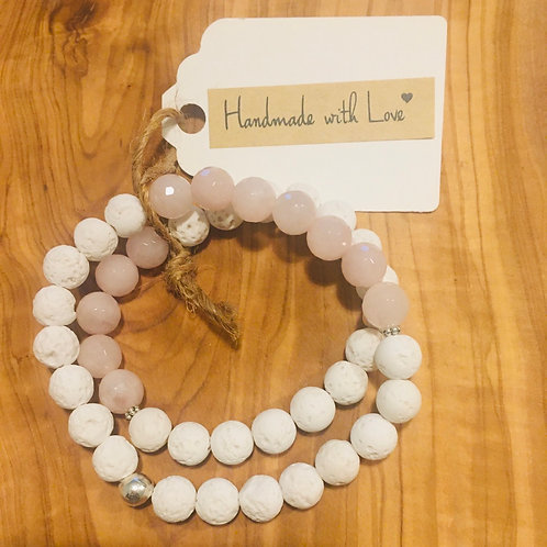 Mommy & Me Connected Bracelets: Rose Quartz